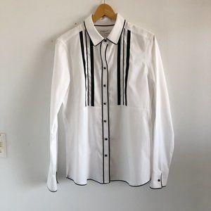 crisp panel front dress blouse
